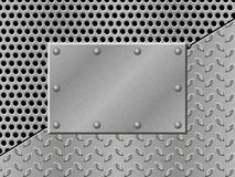 Rusty perforated Metal Background with plate and rivets. Stock Photos