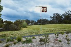 Rusty Petrol Station Sign at an Abandoned Raceway. In Katoomba, Blue Mountains, Australia stock photos