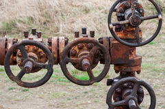 Rusty petroleum pipe line Royalty Free Stock Images