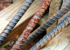 Rusty pieces of rebar. Rods royalty free stock photo