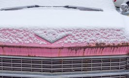 Rusty pink cadillac in need of a little TLC royalty free stock images
