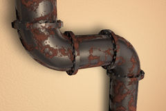 Rusty pipe. Against a  cream background Stock Photography