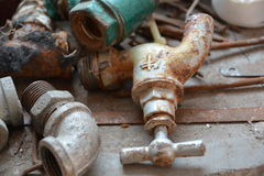 Rusty pipe fittings Royalty Free Stock Images
