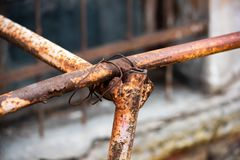 Rusty pipe twisted metal wire. Is close stock images