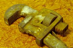 Rusty Pipe Wrench stock photos