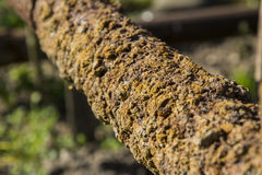 Rusty pipes, detail. The old pipe is covered with a thick layer of rust Stock Image