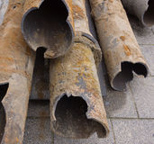 Rusty pipes. Dug for replacement Stock Photo