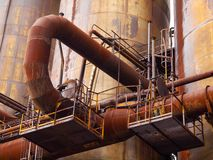 Rusty pipes in industrial factory Stock Photography