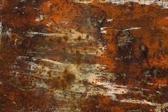 Rusty plate. Rusty painted plate, close-up stock photo