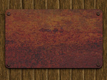 Rusty plate on boards Royalty Free Stock Images