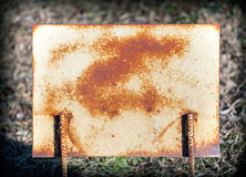 Rusty plate of metal, grunge. Royalty Free Stock Photo