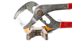 Rusty pliers on white closeup Royalty Free Stock Photos