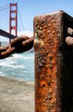 Rusty pole by the Golden Gate Bridge Royalty Free Stock Photos