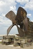Rusty porpeller. Weathered wood timbers and propeller from a shipwreck Royalty Free Stock Photography