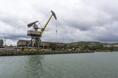 Rusty port crane. Royalty Free Stock Image