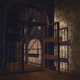 Rusty prison door. Old and rusty prison door in the dungeon Stock Images