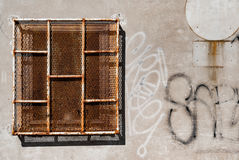 Rusty Prison Window Stockfoto