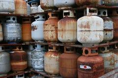 Rusty Propane Cylinders Fotografering för Bildbyråer