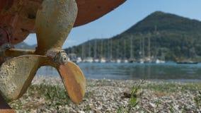 Rusty Propeller near Shore stock video