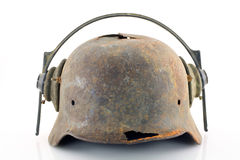 Rusty protective helmet with headphones Royalty Free Stock Photo