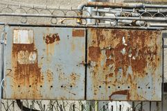 Rusty protective metal box of gas meter. Macro detail of rusty protective metal box of gas meter stock photos