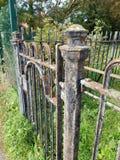 Rusty railings gate stock image