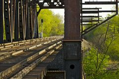 Rusty Railroad Bridge Arkivbilder