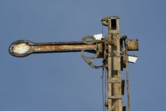 Rusty railroad semaphore Stock Images