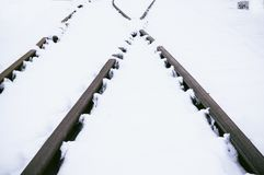 Railroad tracks in snow. Royalty Free Stock Photo