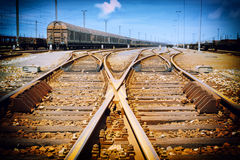 Rusty railway junction Royalty Free Stock Photos