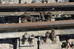 Rusty  Railway Track. Old rusty railway track partially dismantled Stock Image
