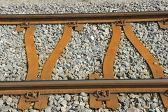 Rusty Railway Track. Old rusty railway track on ballast substructure Stock Image