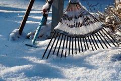 Rusty Rake sulla terra di Snowy immagini stock