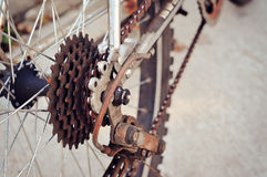 Rusty rear sprocket of bicycle Stock Photos