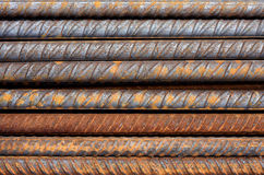 Rusty Rebar Rods Metallic Pattern Stock Image