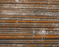 Rusty rebar steel used in construction background Royalty Free Stock Images