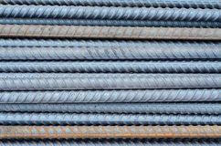 Rusty rebar steel used in construction background texture Stock Images