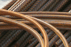 Rusty rebars, bent and straight Stock Photo
