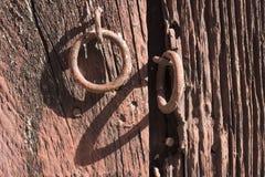 Rusty red door lock Stock Photos