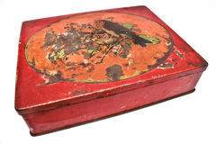 Rusty red tin box Royalty Free Stock Image