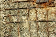 Rusty reinforced concrete structures Royalty Free Stock Photos
