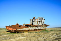 Rusty remains of a warship Royalty Free Stock Photography
