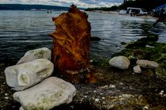 Rusty residue from the pillar. At the Varna coast Stock Images