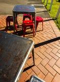 Rusty Retro Metal Chairs Tables fora Imagem de Stock Royalty Free