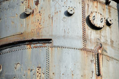 Rusty riveted steel plates Royalty Free Stock Photos