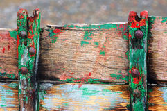 Rusty rivets on old and cracked boat Royalty Free Stock Images