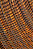 Rusty, rolled sheet metal. A section of rolled steel sheet metal, showing rust and rough edges Stock Image