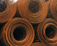 Rusty rolls of wire fence Royalty Free Stock Image