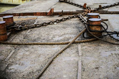 Rusty ropes and chains Stock Image