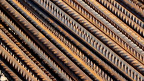 Rusty Round Bars Completely Piled stock video